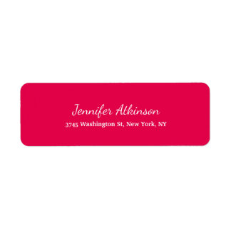 Pink Red Creative Handwriting Plain Feminine Return Address Label
