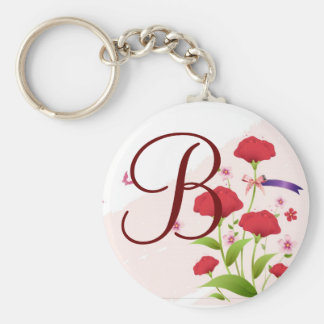 Pink Red Floral Save the Date magnet, available ro Basic Round Button Key Ring