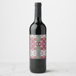 pink red floral wine label