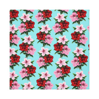pink red flowers on teal light canvas print