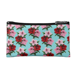 pink red flowers on teal light cosmetic bag