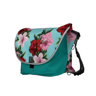 pink red flowers on teal light courier bag