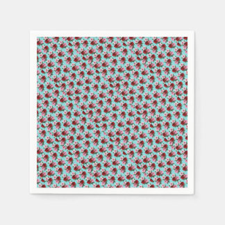 pink red flowers on teal light disposable serviettes