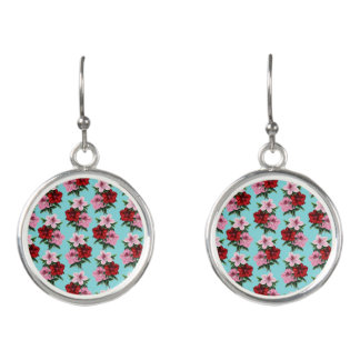 pink red flowers on teal light earrings