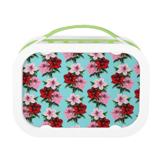 pink red flowers on teal light lunch box