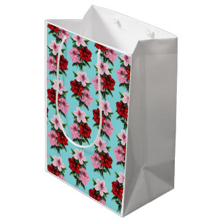 pink red flowers on teal light medium gift bag
