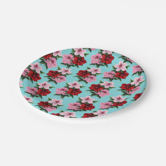 pink red flowers on teal light paper plate