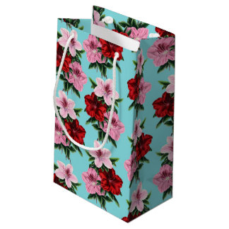 pink red flowers on teal light small gift bag