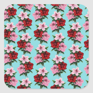 pink red flowers on teal light square sticker