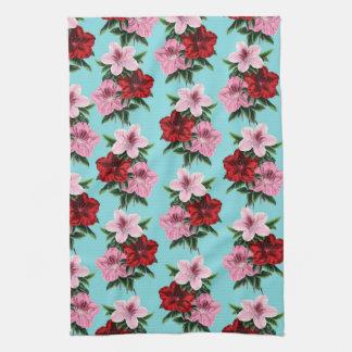 pink red flowers on teal light tea towel