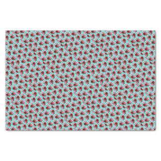 pink red flowers on teal light tissue paper