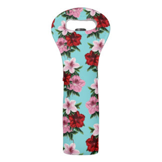 pink red flowers on teal light wine bag