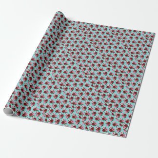pink red flowers on teal light wrapping paper