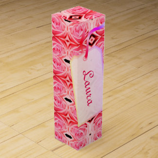 Pink Red Geometric Roses design Wine Box