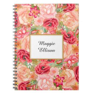 Pink Red Gold Roses Personalized Floral Spiral Notebook