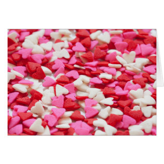 Pink Red Heart Sprinkles Candy Pattern Greeting Card