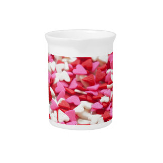 Pink Red Heart Sprinkles Candy Pattern Pitcher