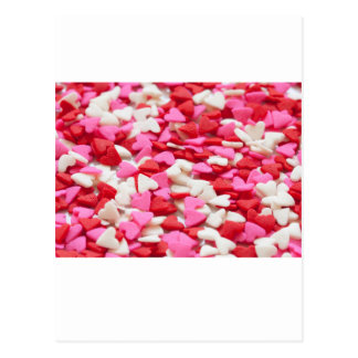 Pink Red Heart Sprinkles Candy Pattern Postcard
