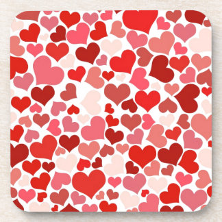 Pink Red Hearts Pattern Valentine's Day Love Coaster