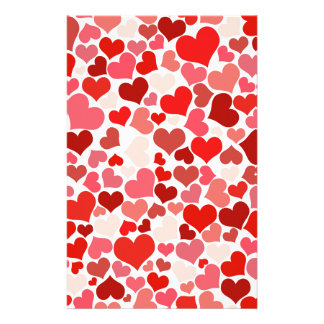 Pink Red Hearts Pattern Valentine's Day Love Stationery