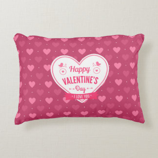 Pink & Red Hearts Valentine's Day Pillow Accent Cushion