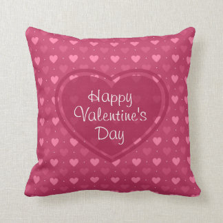 Pink & Red Hearts Valentine's Day Pillow Cushion