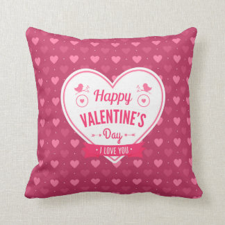 Pink & Red Hearts Valentine's Day Pillow Cushions