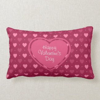 Pink & Red Hearts Valentine's Day Pillow Throw Cushion
