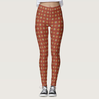 Pink-Red Leggings with Circle-and-Cross Pattern