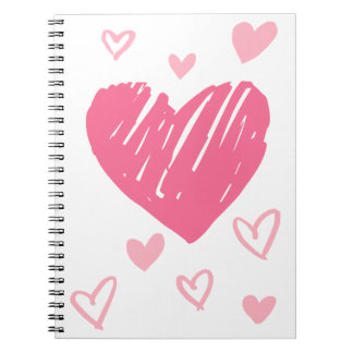 Pink & Red Love Hearts - Wedding, Bridal Shower Notebooks