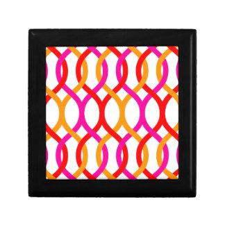 Pink Red Orange Bold Chain Print Small Square Gift Box