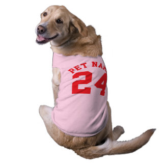 Pink & Red Pets   Sports Jersey Design Sleeveless Dog Shirt