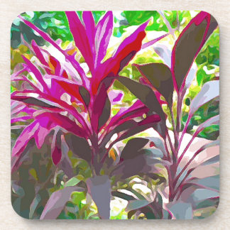 Pink Red Plant in Key West Coaster