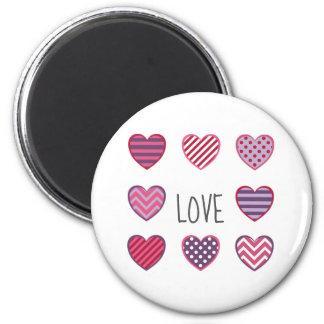 Pink Red Purple Geometric Hearts Love Valentine Magnet