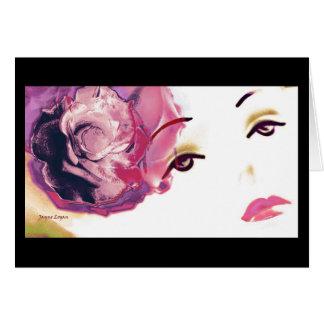 Pink Red Rose Diamond Girl, Greeting Card