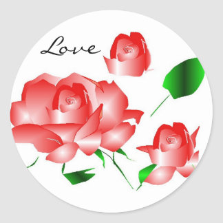 """""""Pink Red Rose I Love"""" Sticker Round Sticker"""