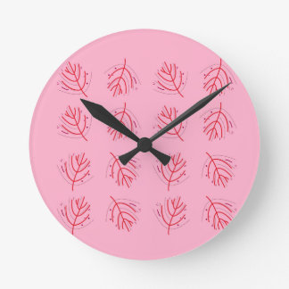 PINK  RED Seaweeds. T-shirts and more Round Clock