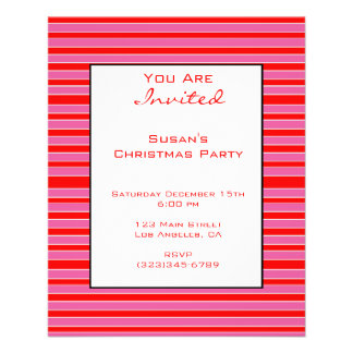 Pink Red Striped Christmas 11.5 Cm X 14 Cm Flyer