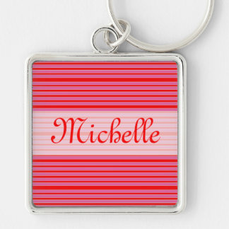 Pink Red Striped Name Silver-Colored Square Key Ring