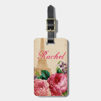 Pink & Red Vintage Roses Floral & Eiffel Tower Luggage Tags