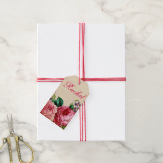 Pink & Red Vintage Roses Floral & Recycled Paper Gift Tags