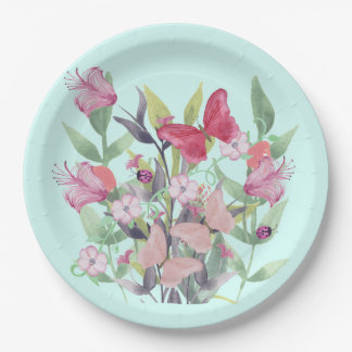 Pink & Red Watercolor Flowers & Butterflies 9 Inch Paper Plate