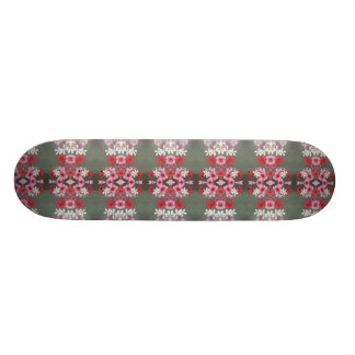 pink red white flower skateboard