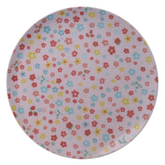 pink, red, yellow, and blue flowers dinner plate