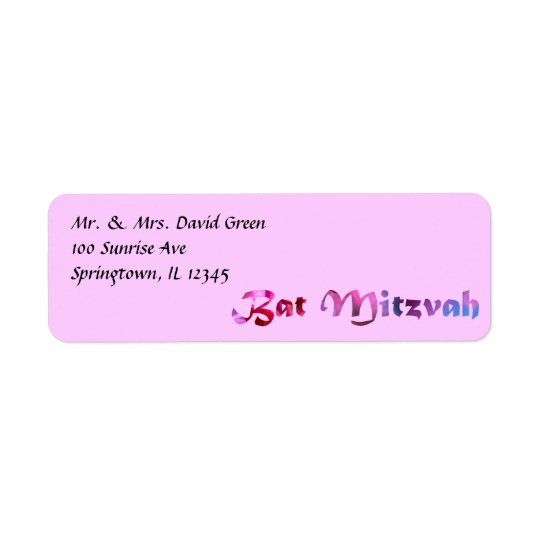 Pink Redbud Blossoms Bat Mitzvah Return Address Label