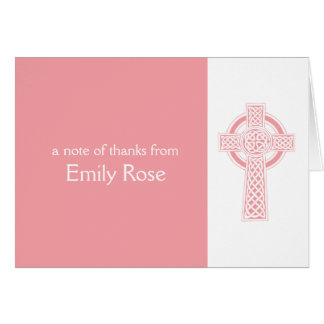Pink Religious Irish Cross Thank You Card
