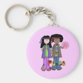 Pink Retro 1960 Hippies Keychain ~ Flower Power