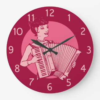 Pink Retro Accordion Lady Large Clock