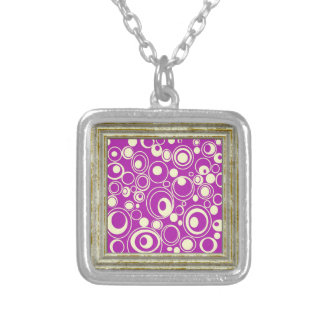 Pink Retro Circles Silver Plated Necklace