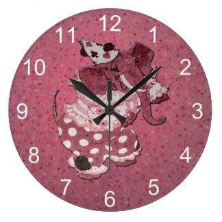 Pink Retro Circus Elephant Large Clock